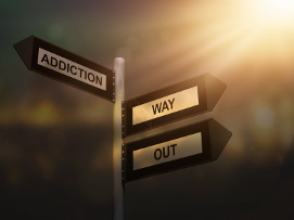 Image of Street Post with One Way Addiction and the Other a Way Out